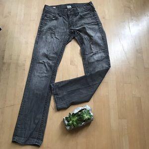 True Religion || Gray Straight Leg Jeans